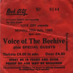 25 July 1988: Voice of the Beehive - Rock City, Nottingham, England, UK