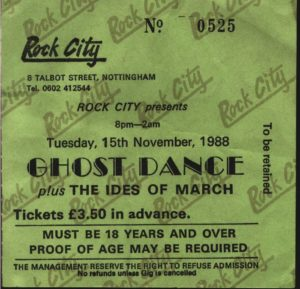 15 November 1988 Ghost Dance - Rock City, Nottingham, England, UK
