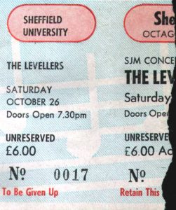 26 October 1991: Levellers - Octagon, Sheffield, England, UK