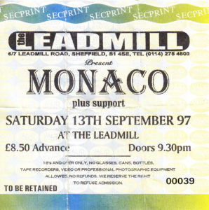 19970913 Monaco - The Leadmill, Sheffield, England, UK