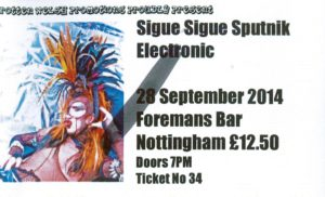 20140928 Sigue Sigue Sputnik Electronic - Foremans Bar, Nottingham, England
