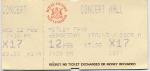 12 February 1986: Motley Crue + Cheap Trick - Royal Concert Hall, Nottingham, England, UK