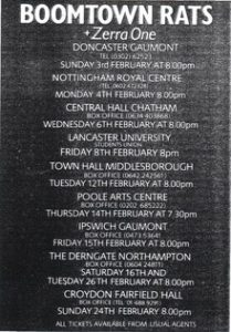 The Boomtown Rats Tour Poster 1985