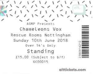 10 June 2018: Chameleons Vox - Rescue Rooms, Nottingham, England, UK