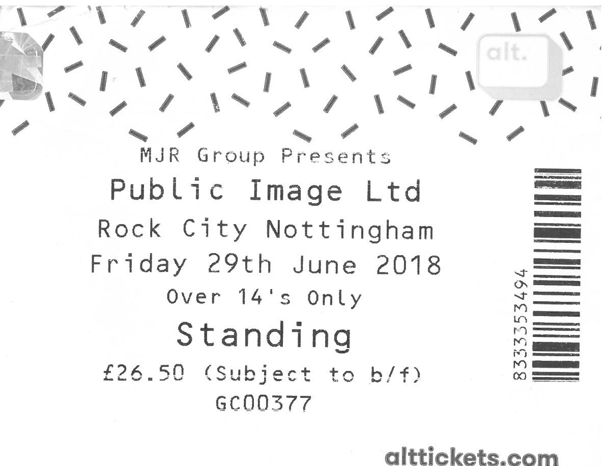 29 June 2018: Public Image Ltd. – Rock City, Nottingham, England, UK