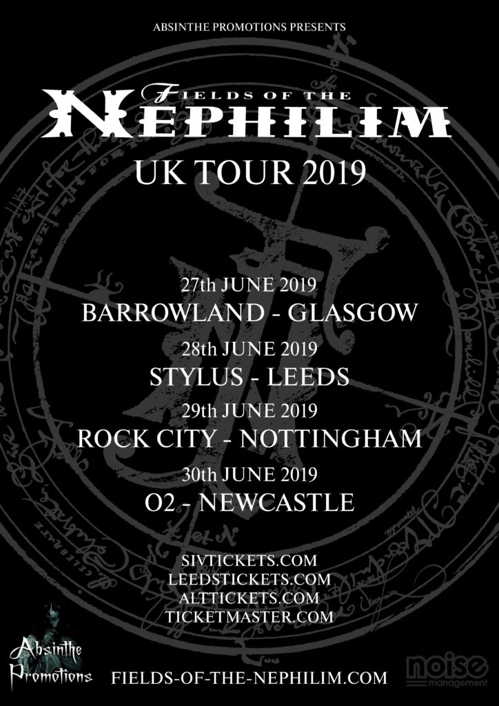 29 June 2019: Fields of the Nephilim - Rock City, Nottingham, England, UK