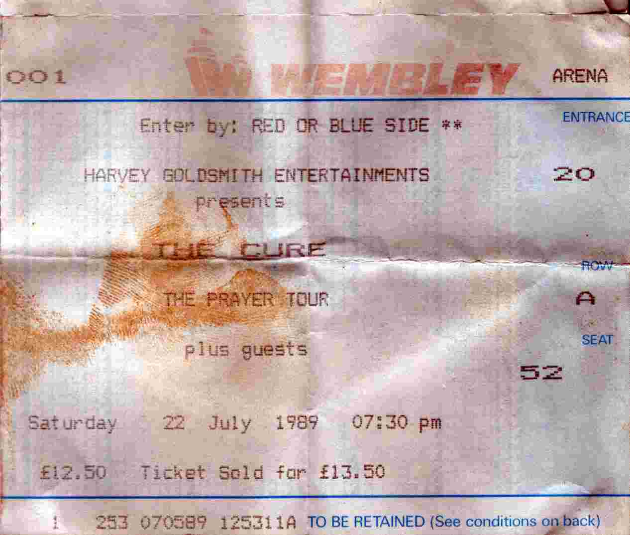 22 July 1989; The Cure + Shelleyan Orphan - Wembley Arena, London, England, UK