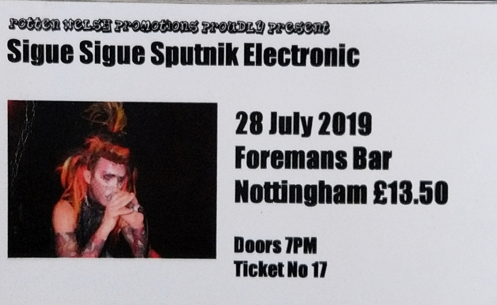 28 July 2019 Sigue Sigue Sputnik Electronic, Foremans Bar, Nottingham, England, UK