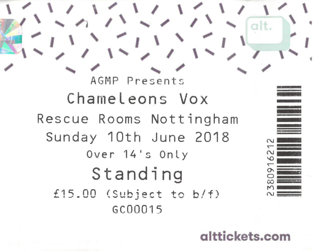10 June 2018: Chameleons Vox - Rescue Rooms, Nottingham, England, UK