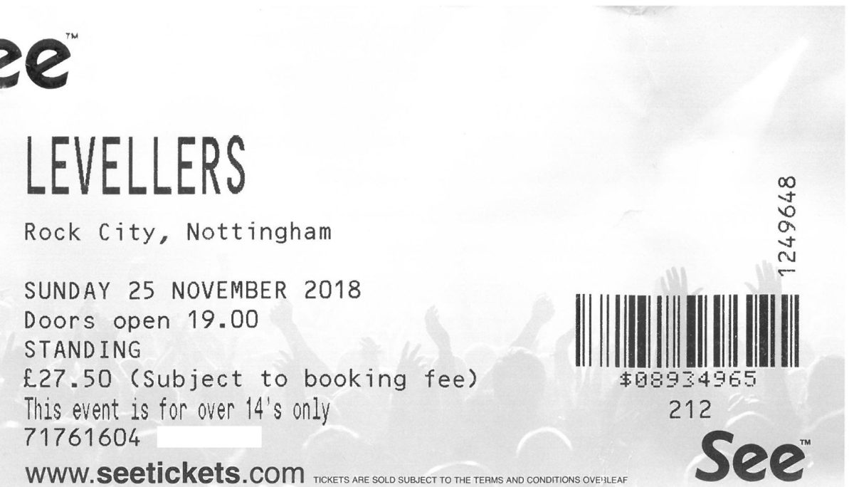 25 November 2018: Levellers – 30th Anniversary: One Way of Life Tour  – Rock City, Nottingham, England, UK